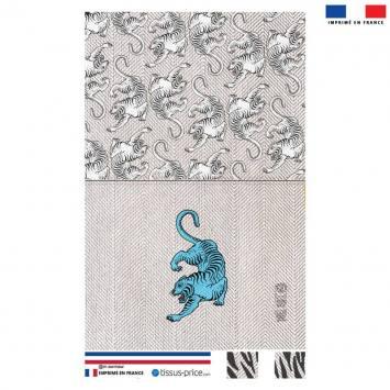 Kit pochette blanc motif tigre bleu - Création Lou Picault