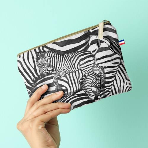 Kit pochette blanc motif zèbre noir - Création Lou Picault