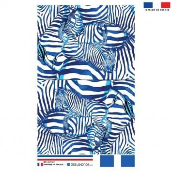 Kit pochette blanc motif zèbre bleu - Création Lou Picault