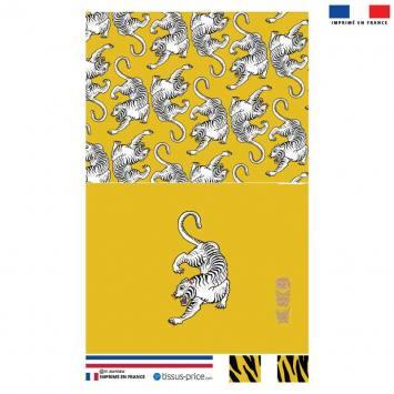 Kit pochette jaune motif tigre blanc - Création Lou Picault