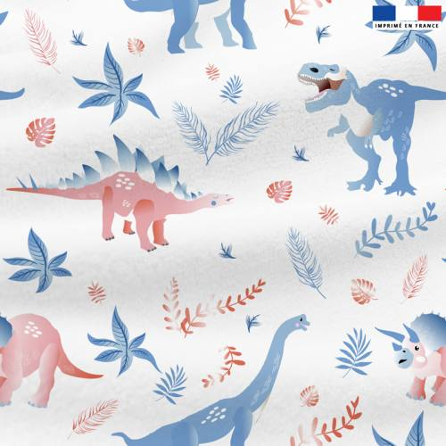 Polaire blanche motif dinosaure et feuilles
