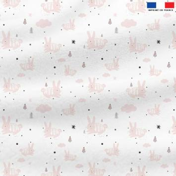 Polaire blanche motif lapin rose