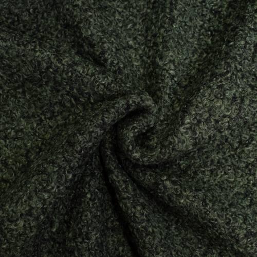 Tissu lainage bouclé chiné vert et noir