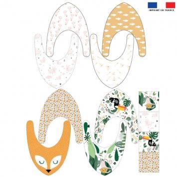 Coupon éponge bavoirs bandana motif singe lapin pélican et feuille