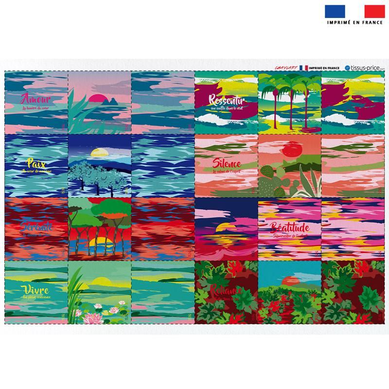 Coupon éponge pour lingettes démaquillantes motif paysages - Création Chaylart
