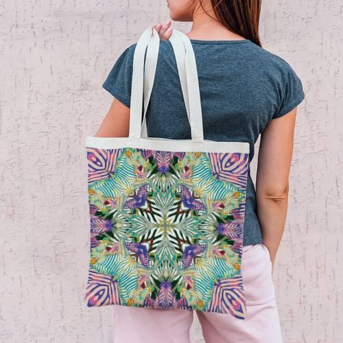 Coupon 45x45 cm rose motif zèbre symétrique vert - Création Lou Picault