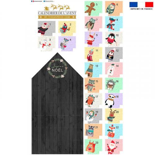 Coupon en velours d'habillement pour Calendrier de l'avent pastel motif animaux