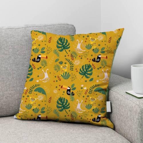 Animaux de la jungle - Fond jaune banane