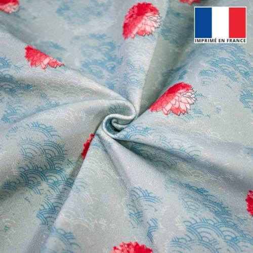Pivoine rose effet aquarelle - Fond écaille bleue