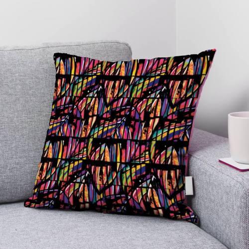 Bambou multicolore effet hachuré - Fond noir