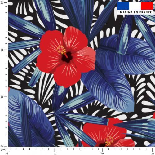 Hibiscus noir bleu et rouge - Fond noir et blanc