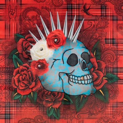Carré 45x45.5 cm - Velours tartan rouge motif crâne et rose rouge