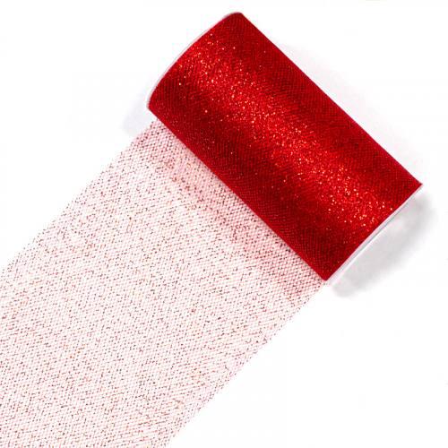 Bobine de ruban de tulle paillettes rouge