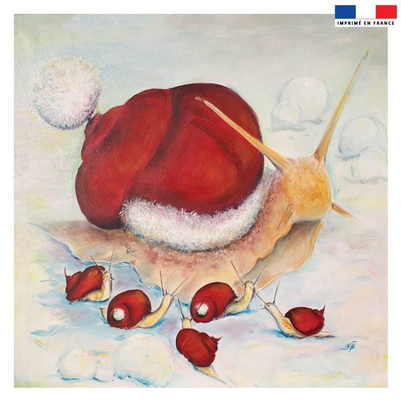 Coupon 45x45 cm motif escargot de Noël - Création Véronique Baccino