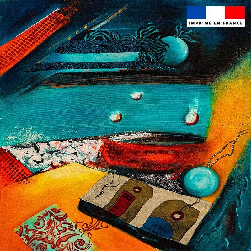 Coupon 45x45 cm motif Objectif vacances - Création Monique.D