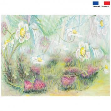 Coupon 59x44.5 cm motif framboisier - Création Véronique Baccino