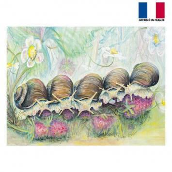 Coupon 59x44.5 cm motif snail strawberries partie - Création Véronique Baccino