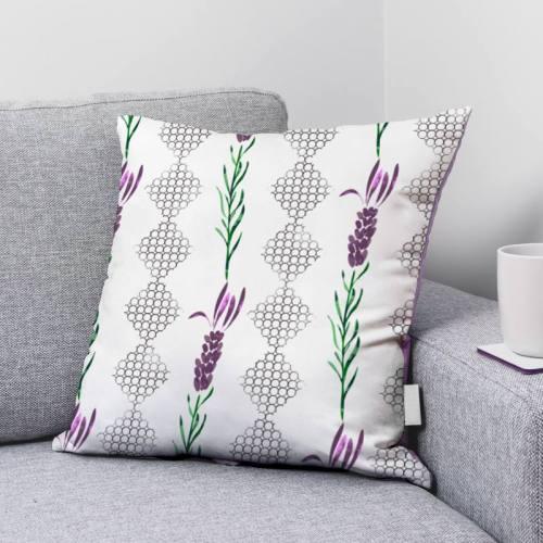 Alvéole et lavande violette et verte - Fond écru