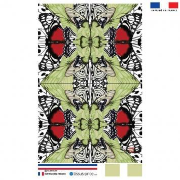 Kit pochette motif papillon rouge et vert - Création Lou Picault