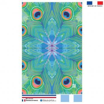 Kit pochette motif plume de paon bleu - Création Lou Picault