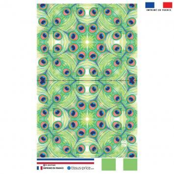 Kit pochette motif plume de paon vert - Création Lou Picault
