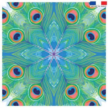 Coupon 45x45 cm motif paon vert - Création Lou Picault