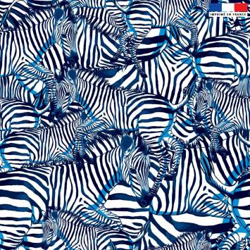 Velours ras blanc motif zèbre bleu - Création Lou Picault