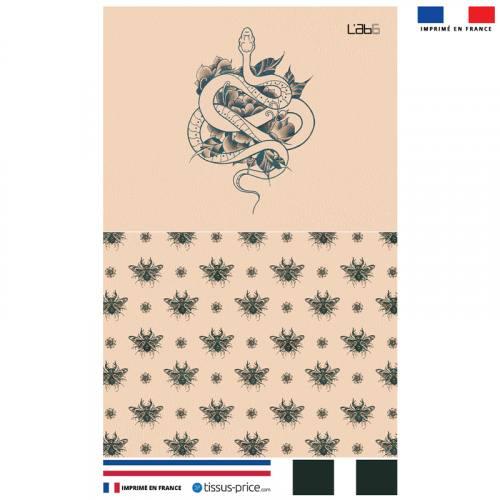 Kit pochette motif snake effet tattoo - Création LAB6