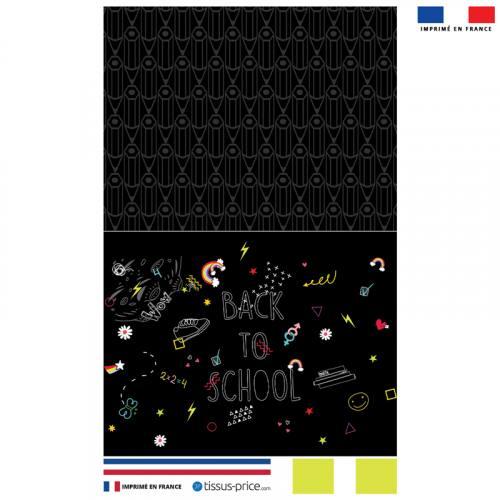 Kit pochette canvas noire motif back to school bleu