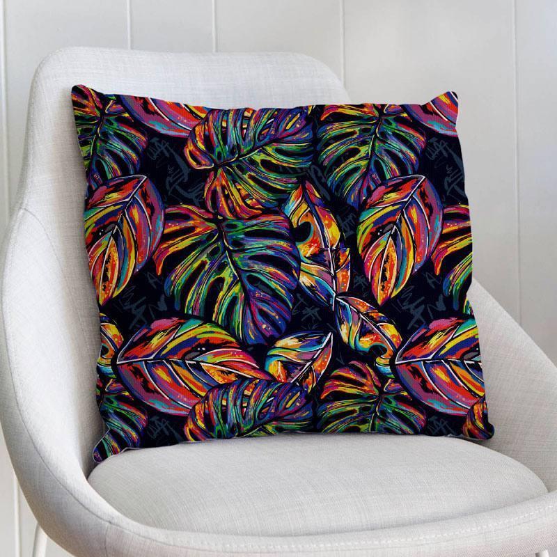 Palme jungle multicolore - Fond noir