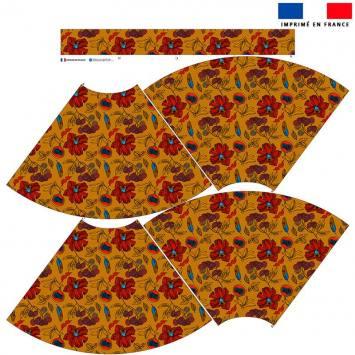Kit Jupe Mi-Genoux - Wax jaune miel et fleur rouge