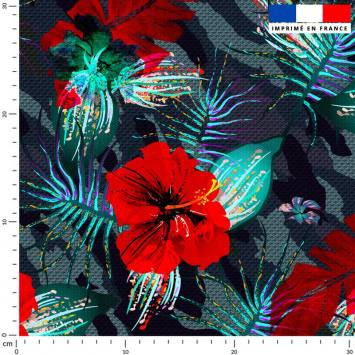 Fleur rouge - Fond camouflage bleu