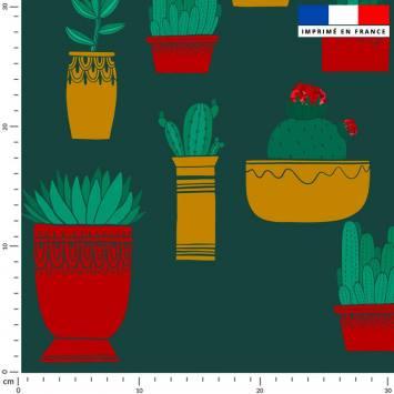 Cactus - Fond vert sapin