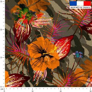 Fleur orange - Fond camouflage vert