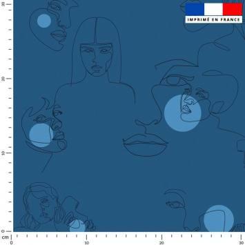 Visage dessiné au trait continu et pois bleu - Fond bleu
