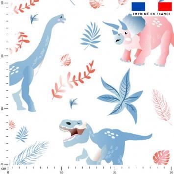 Dinosaure et feuilles bleu et rouge - Fond blanc
