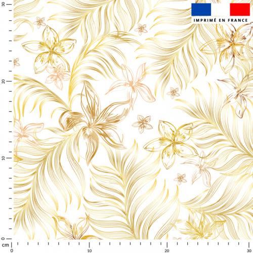 Feuille dorée et fleur orange - Fond écru
