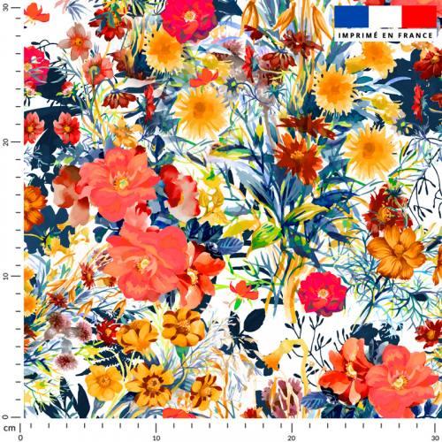 Bouquet de fleurs champêtres - Fond écru