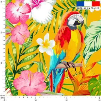 Perroquet exotique rouge - Fond ocre