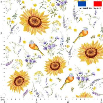 Tournesol jaune soleil - Fond écru