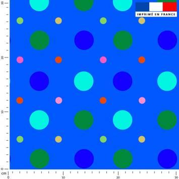 Pois bleu et vert - Fond bleu