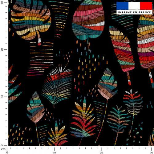 Wax feuilles tropicales multicolores - Fond noir