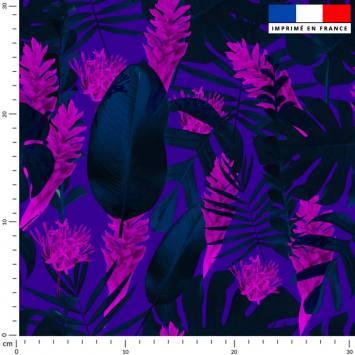 Feuilles tropicales bleues - Fond violet