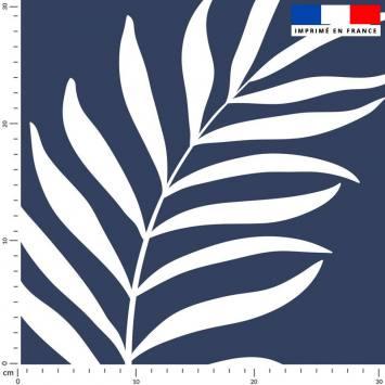 Feuille de palmier blanche - Fond bleu turquin