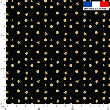 Rond étoile et sapin doré - Fond noir