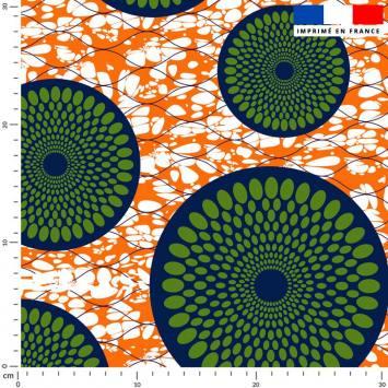 Wax rosace bleu à pois vert - Fond orange