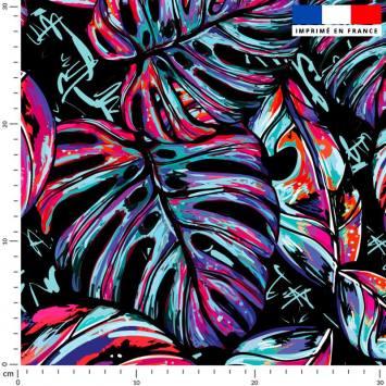 Feuille pop rose et bleue - Fond noir