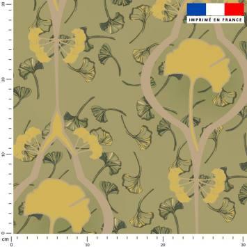 Grand ginkgo beige - Fond vert tilleul