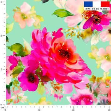 Peinture florale rose - Fond vert d'eau