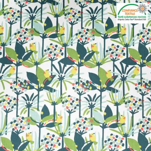 Coton blanc motif petit oiseau jaune edbird